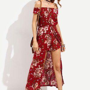 SHEIN Bardot floral high low longline romper  S